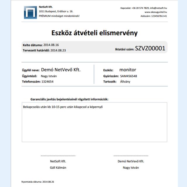 Eszköz átvételi elismervény - Online CRM