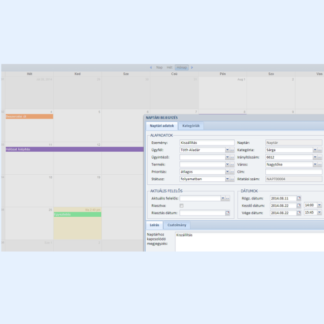 Naptár adatok - Online CRM