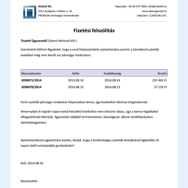 Fizetési felszólítás - Számlázó