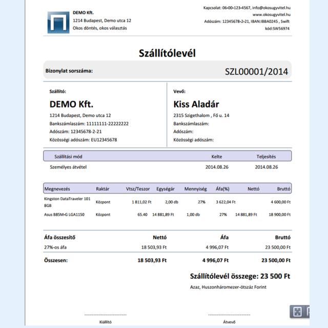 Szállítólevél nyomtatási kép - Online készlet program
